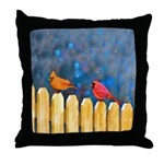 Cardinals on the Fence Throw Pillow