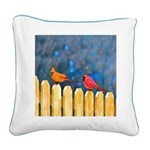 Cardinals on the Fence Square Canvas Pillow