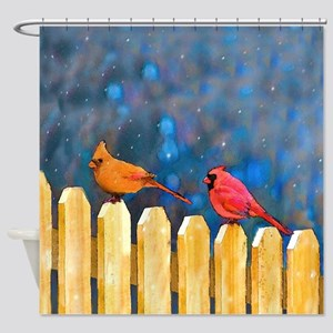 Cardinals on the Fence Shower Curtain