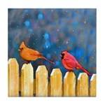 Cardinals on the Fence Tile Coaster
