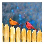 Cardinals on the Fence Square Car Magnet 3