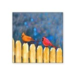 Cardinals on the Fence Square Sticker 3