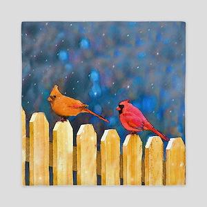 Cardinals on the Fence Queen Duvet