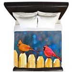 Cardinals on the Fence King Duvet