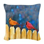 Cardinals on the Fence Woven Throw Pillow