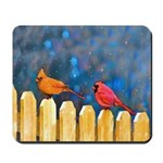Cardinals on the Fence Mousepad