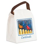 Cardinals on the Fence Canvas Lunch Bag