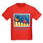 Cardinals on the Fence Kids Dark T-Shirt