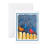 Cardinals on the Fence Greeting Cards (Pk of 20)