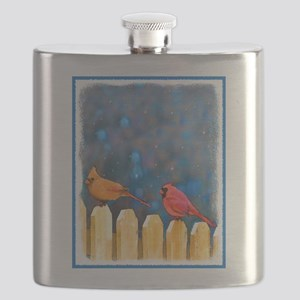 Cardinals on the Fence Flask