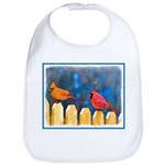 Cardinals on the Fence Cotton Baby Bib
