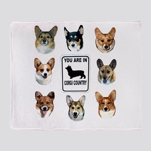 You Are in Corgi Country Throw Blanket