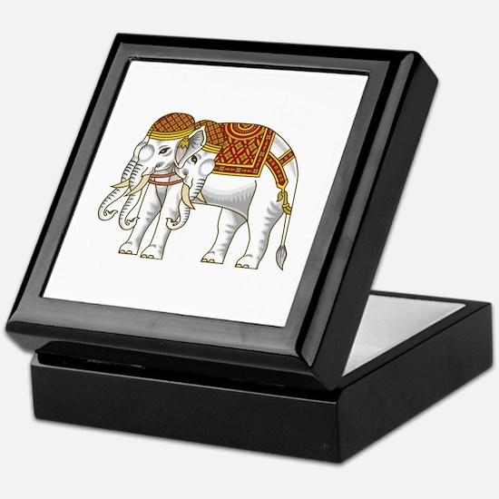 Thai Erawan White Elephant Keepsake Box