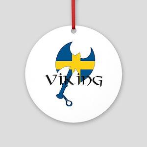 Swedish Viking Axe Ornament (Round)