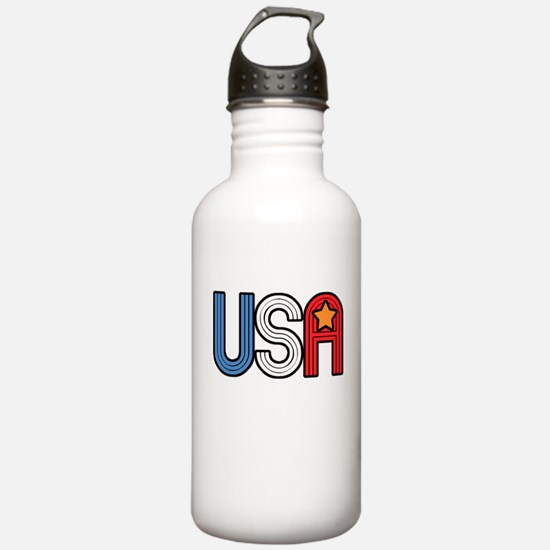 Retro USA with Star Water Bottle