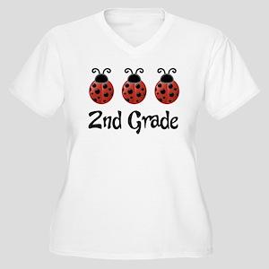 2nd Grade School Ladybug Women's Plus Size V-Neck