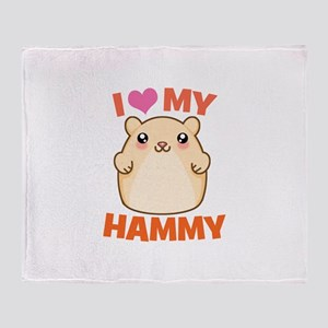 I Love My Hammy Throw Blanket