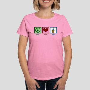 Peace Love Debate Women's Dark T-Shirt
