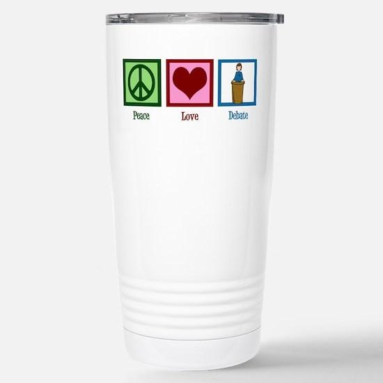 Peace Love Debate Stainless Steel Travel Mug
