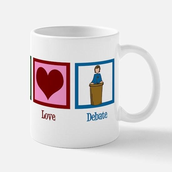 Peace Love Debate Mug
