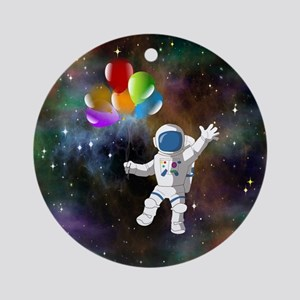 Astronaut with Balloons Round Ornament