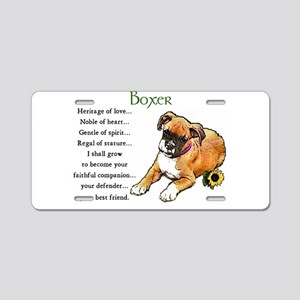 Boxer Puppy Aluminum License Plate