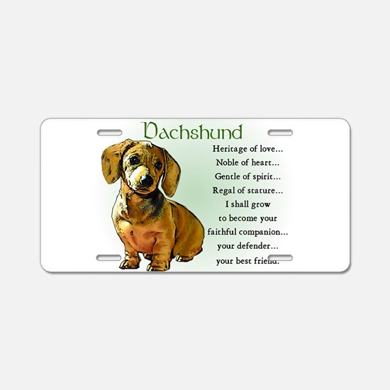 Dachshund Puppy Aluminum License Plate