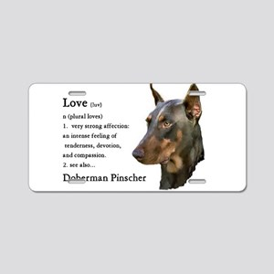 Doberman Pinscher Gifts Aluminum License Plate