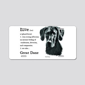 Black Great Dane Aluminum License Plate