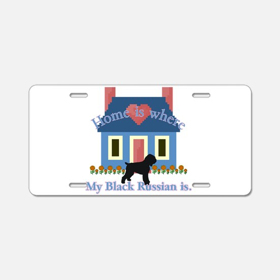 Cute Black russian terrier Aluminum License Plate