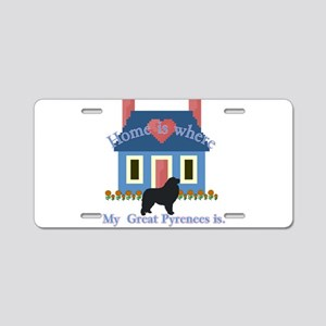 Home Is Great Pyrenees Aluminum License Plate