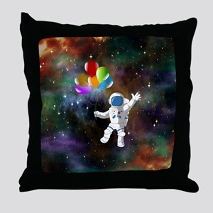 Astronaut with Balloons Throw Pillow