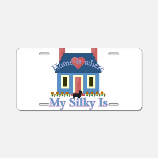 Silky Terrier Home Is Aluminum License Plate
