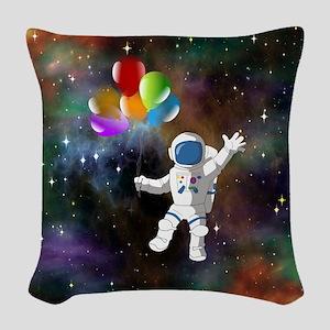 Astronaut with Balloons Woven Throw Pillow