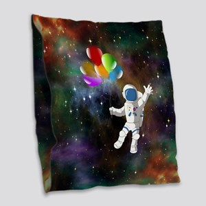 Astronaut with Balloons Burlap Throw Pillow