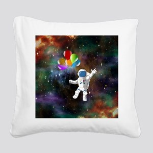 Astronaut with Balloons Square Canvas Pillow