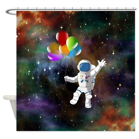 Astronaut With Balloons Shower Curtain