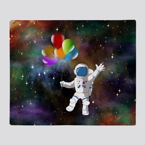 Astronaut with Balloons Throw Blanket