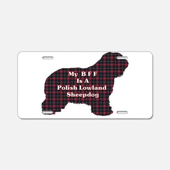 Polish Lowland Sheepdog BFF Aluminum License Plate