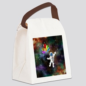 Astronaut with Balloons Canvas Lunch Bag