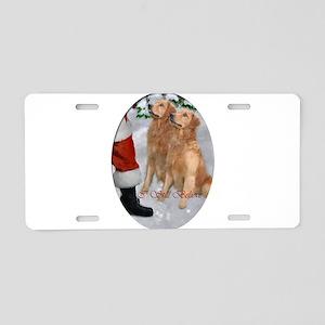 Golden Retriever Christmas Aluminum License Plate