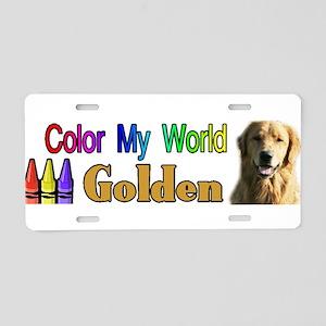 Color My World Golden Aluminum License Plate