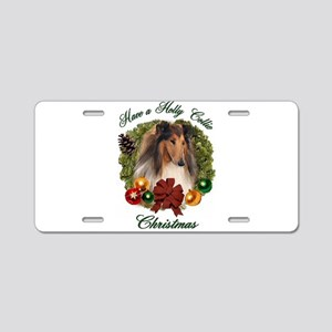 Collie Christmas Aluminum License Plate