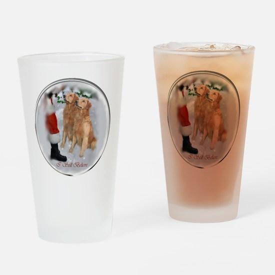 Golden Retriever Christmas Drinking Glass