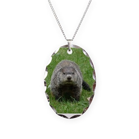 Groundhog (Woodchuck) Necklace Oval Charm