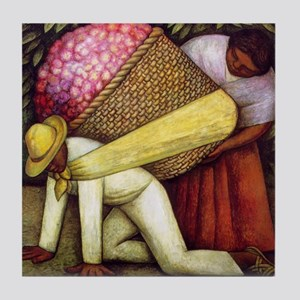 Diego Rivera Flower Carrier Art Tile Coaster