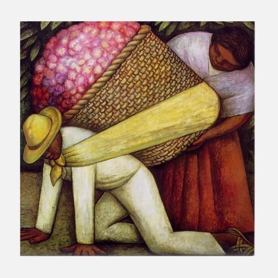 Diego Rivera Flower Carrier Art Tile Coaster