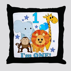 First Birthday Jungle Throw Pillow
