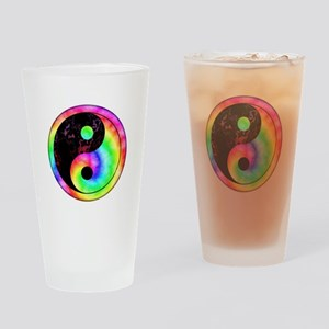 Rainbow Spiral Yin Yang Pint Glass