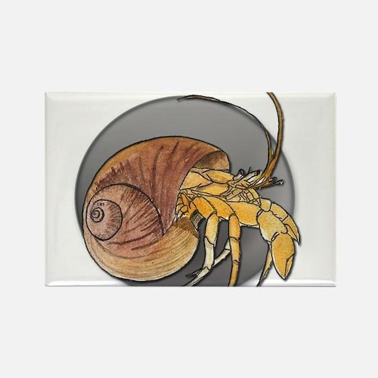 Watercolor Hermit Crab Rectangle Magnet